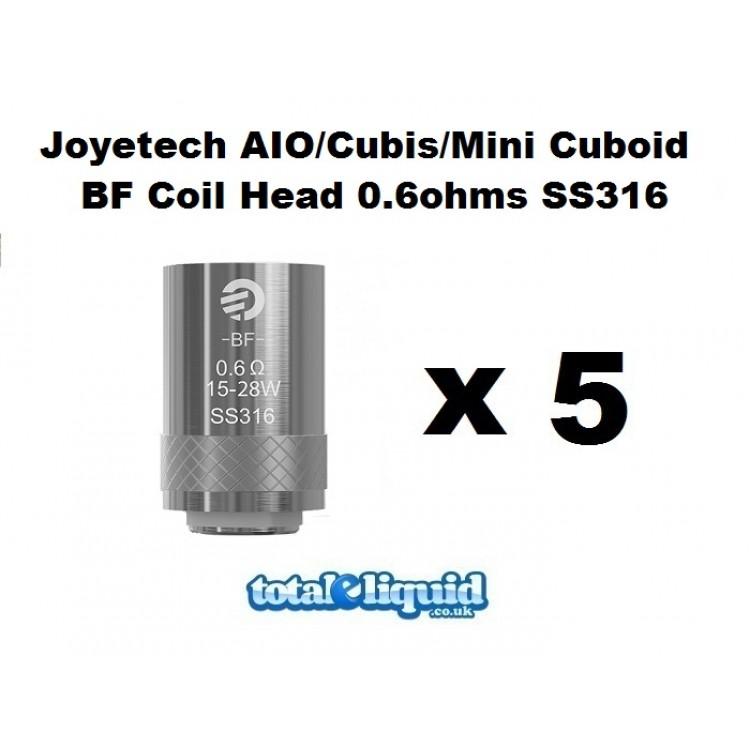 Joyetech AIO/Cubis/Mini Cuboid BF Coil 1.0ohms SS316 x 5 MTL (Fits all Joyetech AIO kits)