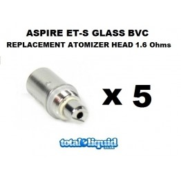 Aspire ET-S Glass BVC Replacement Atomizer Head 1.6 Ohms (PACK OF FIVE) (Also fits K1)